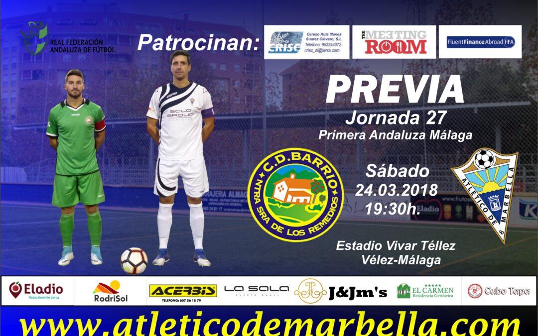 El Atlético Marbella buscará salir del descenso en su visita al C.D.Barrio (Sáb.19:30h.)