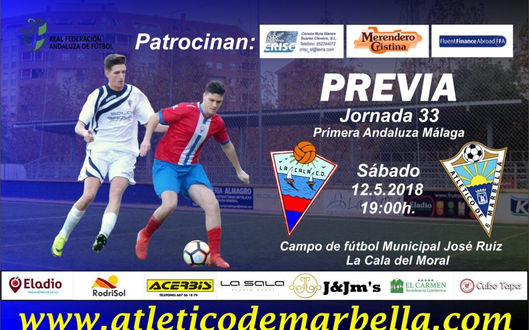 El Atlético Marbella buscará una victoria ante La Cala para jugarse la salvación en la última jornada (Sáb.19:00h)