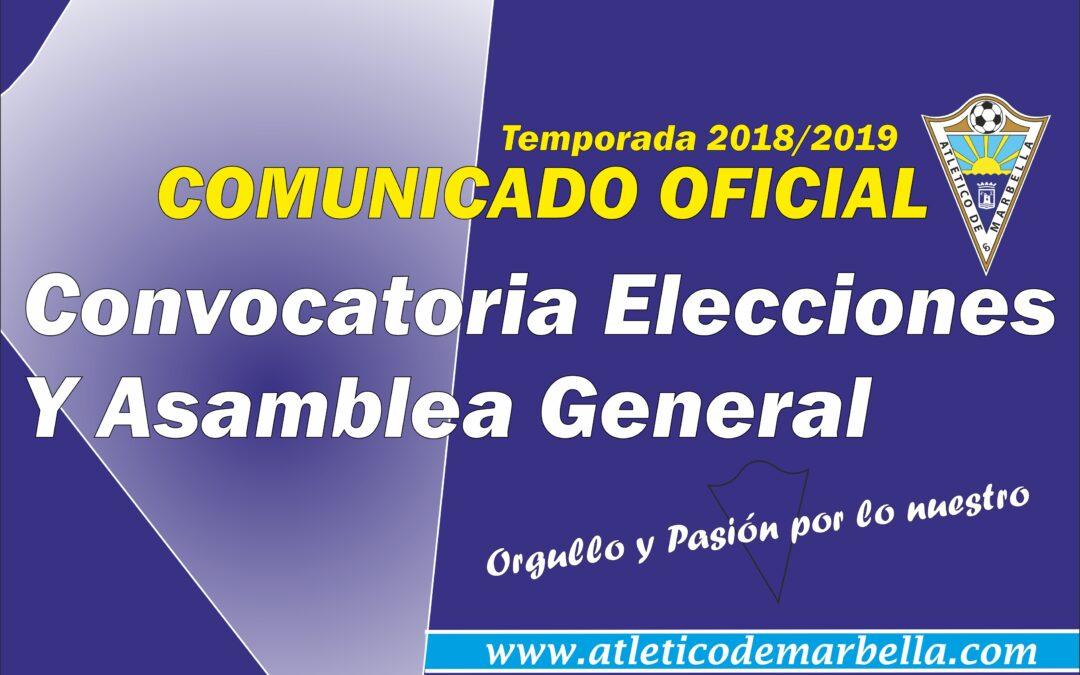 Comunicado Oficial: Convocatoria Asamblea y Elecciones Presidencia del Club