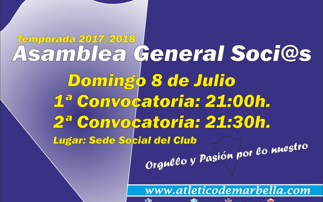 Convocatoria Asamblea General Soci@s Temporada 2017/18